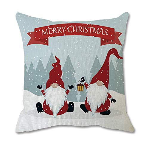 Christmas Ornaments Faceless Doll Pillow Covers Santa Claus Pattern Pillowcase, Pillow Case, for Christmas Day (L)