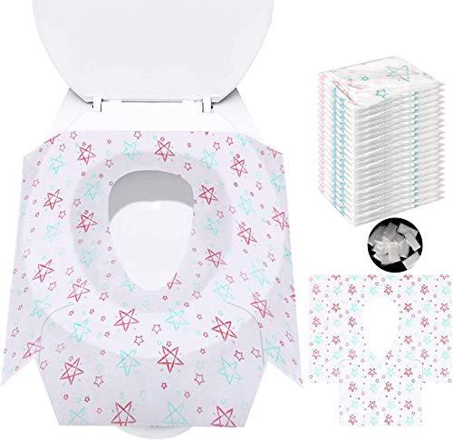 Potty Seat Cover - Coprisedili Monouso per WC,Con 20 Paia di Guanti Monouso, Perfetti per Bambini, Donne Incinta, I Bagni Pubblici in Viaggio e in Campeggio(Stelle)