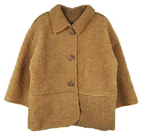 ContiKids Toddler Girls Dress Coat Button Winter Faux Fur Wool Peacoat Jacket Outerwear 7 Brown
