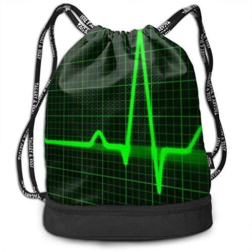 zhangyuB Men & Women Premium Polyester Sac de Cordon Cool Green Heart Cardiogram EKG Shoulder Bags Theft Proof Lightweight for Swim Soccer Baseball Bag Large Size for Camping, Hiking