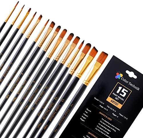 Paint Brush Set by Color Technik 15 Artist Quality Paint Brushes for Painting Acrylic Watercolor product image