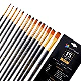 Paint Brush Set by Color Technik, 15 Artist Quality Paint Brushes for Painting Acrylic, Watercolor, Gouache, Oil, Face Paint etc. Hand Made, Taklon Hair, Round, Flat, Filbert, Angle and Rigger