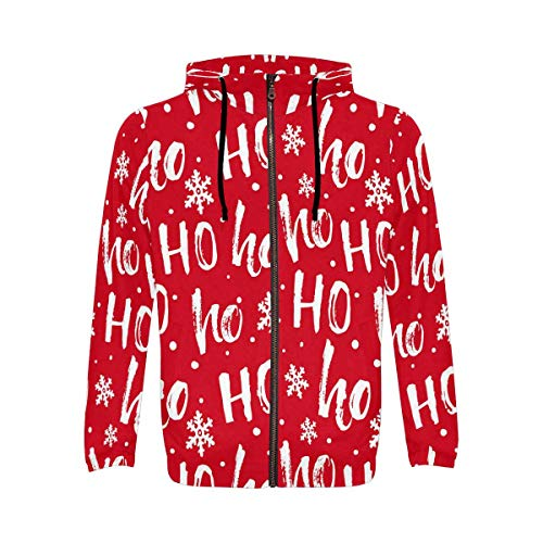 Hohoho Pattern Santa Claus Christmas Red Men's Full-Zip Zipper Hoodies Sweatshirt 2XL