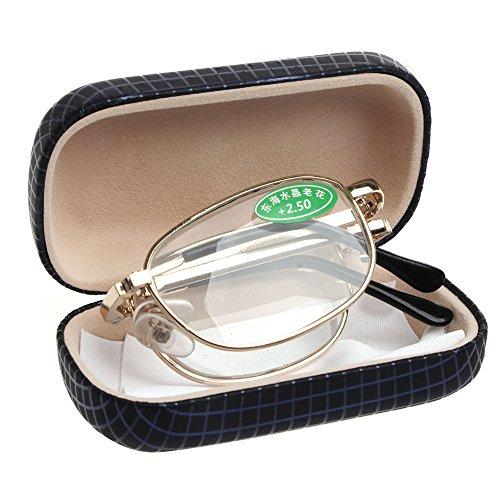 sayletre Blaulichtschutzbrille Vinatge Retro +1.0 +1.5 +2.0 +2.5 +3.0 +3.5 +4.0 Blaulichtfilterbrille Faltbare Computer-Lesebrille für Frauen Männer Schutzhülle