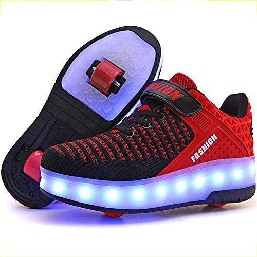 BCXS Schuhe mit Rollen Kinder, Rollschuhe mit LED-Blitz Mehrzweckschuhe mit Rollen, C,27