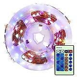 Timetided Lámpara de alambre de cobre con control remoto, cadena de luz LED de...