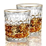 KAMEUN Set di 2 Bicchieri da Whisky Diamond , 300ml Bicchieri Cocktail, Trasparente Whiske...