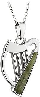 Irish Harp Necklace Rhodium Plated & Connemara Marble Made in Ireland