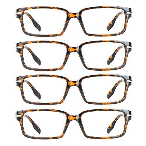 4 Paar Lesebrillen, Blaulicht-Blockierbrille, Computer-Lesebrille für Damen und Herren, Brillengestell mit rechteckigem Mode-Design (4 Schildpatt, 1.50)