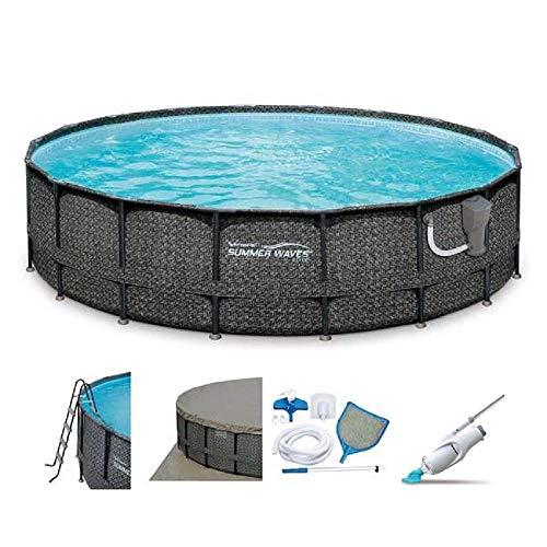 Summer Waves 18ft x 48in Elite Wicker Print Above Ground Pool Set w/Vacuum -  80780