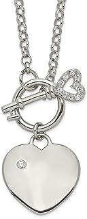 925 Sterling Silver Cubic Zirconia Cz Heart Key