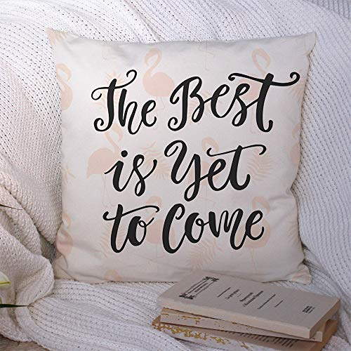 Starolal Throw Pillow Covers Life Black Best Lettering Yet Come Modern Creative Text Drawn Message Saying Graphic Greeting Hand Cozy Polyester Cushion Case Decorative Couch Bed Home Decor 16x16 Inch