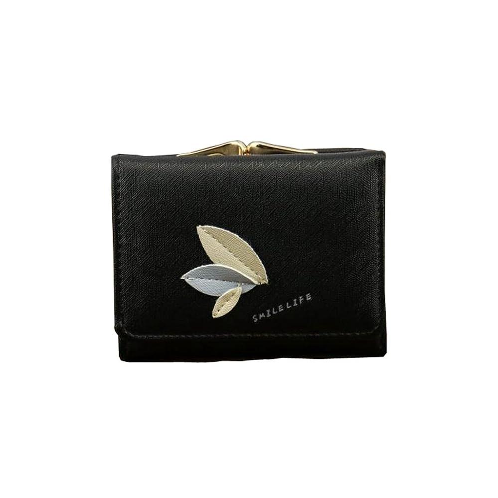 粘液年金どちらもミニ財布 レディース 三つ折り 人気 がま口 かわいい 多機能 カード入れ 小銭入れ 写真入れ 大容量 コンパクト 軽量 ギフト 木の葉 11*8.5*3.5cm  ピンク グレー ブラック パープル グリーン