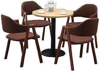 LXJ Mesa y Silla de Comedor de Madera Mesa de Comedor y Silla de Cocina de 4 Piezas Protección del Medio Ambiente Mesa de Madera Mesa con Marco de Metal (1 Mesa 4 sillas)