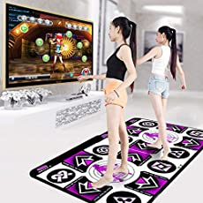 Shaboo Prints Dance Mat for Women Kids Adults, Wireless Non-Slip Dancer Step Pads with AUX Music, Multi-Function Games & Levels, Plug and Play, Sense Game for PC TV (Purple Set 165 x92 cm.)