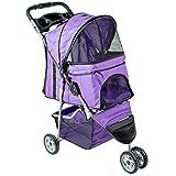 VIVO Purple 3 Wheel Pet Stroller for Cat, Dog and More, Foldable Carrier Strolling Cart, STROLR-V003P