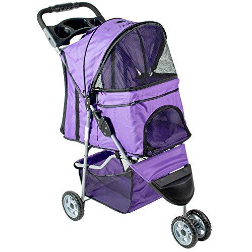 VIVO Purple 3 Wheel Pet Stroller for Cat, Dog and More, Foldable Carrier Strolling Cart (STROLR-V003P)