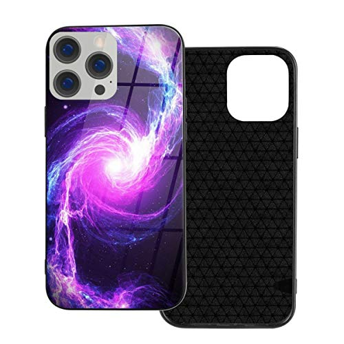 RTBB Iphone 12 Glass Case 3D Purple Nebula Galaxy Flexible Soft Tpu Protection Back Toughened Glass Protective Shockproof Cover Cases For Iphone 12/12 Pro/12 Mini/12 Pro Max
