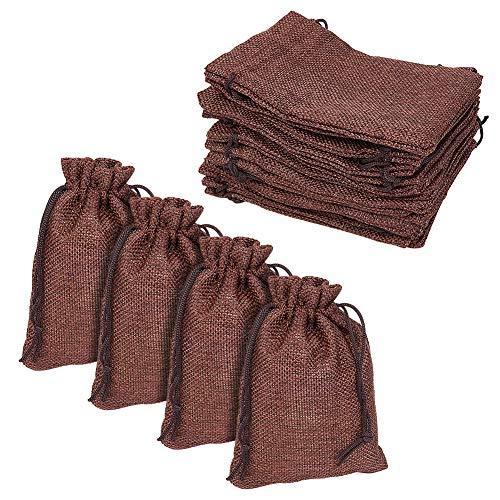 Pandahall 100 Pcs Bolsas de Lino y Cáñamo con Cordón, Bolsas de Regalo, Comida, Joyas, Cuentas, Abalorios, Color de Café, 13,5 x 9.5 cm