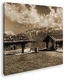 deyoli Alpen Holzhütten Format: 70x70 Effekt: Sepia als