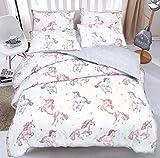 Sleepdown Juego de Funda de edredón con Fundas de Almohada para Cama de Matrimonio (200 cm x 200 cm), diseño de Unicornio arcoíris