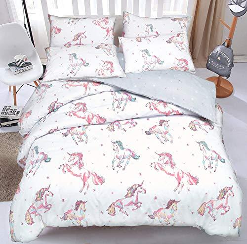 Sleepdown Juego de Funda de edredón con Fundas de Almohada, diseño de Unicornio, Color Blanco y...