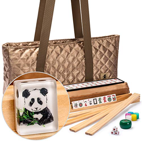 Yellow Mountain Imports American Mahjong Set, Panda Tiles with Tawny Brown Fabric Case - 4 All-in-One Racks with Pushers, Dice, Wind Indicator & Wright Patterson Scoring Coins