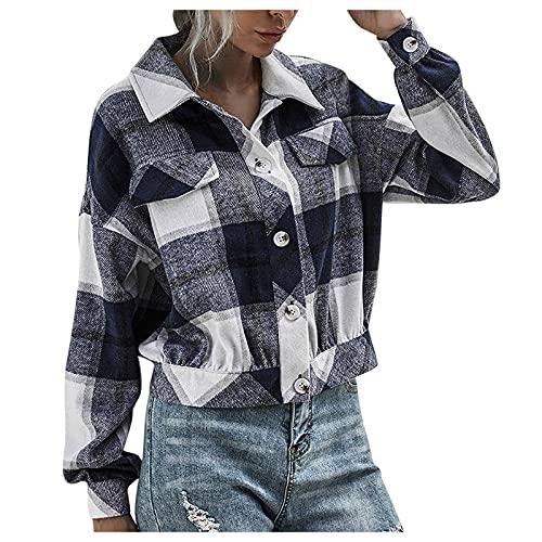 Berimaterry chaqueta corta mujer otoño top casual chaqueta moto con estampado de Cuadros Escoceses Cárdigans mujer elegante ropa casual blusa manga larga Cazadora baratos originales Abrigos jaket