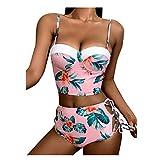 Bikini para mujer con estampado de flores, soporte de talle alto, estilo vintage, talla push up, dos piezas, cintura alta, con tirantes extraíbles.