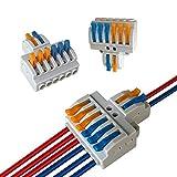 Aiqeer 12 Piezas KV426 Palanca Tuerca Cable Conectores Set, 2 in 6 out Conector Conductor Compacto, Bilateral Rápido Resorte Conector Bloque Terminal