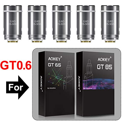 GT65 / GT85 GT 0,6 oHm Resistenza [5 pezzi]. adatto per AOKEY GT65 / GT85, Prodotto senza nicotina - AOKEY GT65 / GT85 GT0,6 ohm Coil