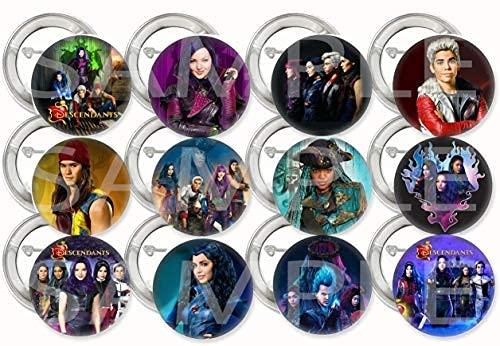 """Descendants Buttons Party Favors Supplies Decorations Collectible Metal Pinback Buttons Pins, Large 2.25"""" -12 pcs…"""