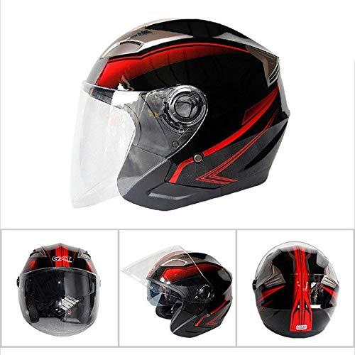 MYSdd Motorradhelm halbes Gesicht ABS Motorradhelm Dual Lens Helm weiblich/männlich einzigartiges Design Stil Mode - Light Black Red X XL