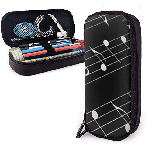 Bolígrafo Estuche para lápices Estuche para lápices Caja de papelería de gran capacidad para útiles escolares Material de oficina y bolsa de transporte de viaje (Teclas de piano en blanco y negro)