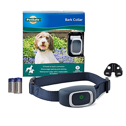 PetSafe Bark Control Collar, Waterproof Basic Bark Control Collar for Small Medium Or Large Dogs 8 lb. & Up, Anti-Bark Static Correction Training Device for Canines, One Size, Blue
