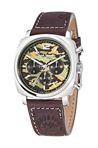 Pepe Jeans Howard de Cuarzo Reloj de Pulsera de los Hombres de la Carta divulgada Esfera analógica y Correa de Piel Color marrón R2351111001