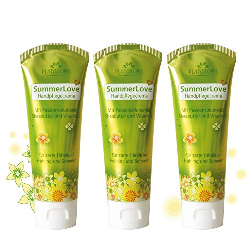 PLANTACOS leichte Handcreme SummerLove/Hautcreme für Frühling und Sommer/frische Pflege Creme für sehr trockene Hände/zarte Haut dank Sheabutter + Vitamin E / 3er Set (je 50 ml)