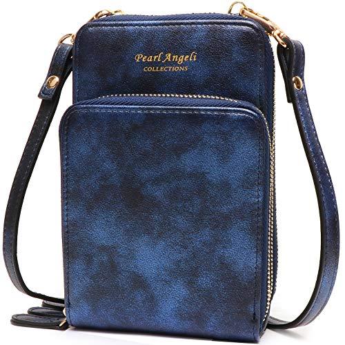 Pearl Angeli [Aktualisierte damen handy tasche RFID Schutz klein handtasche geldbörse umhängen PU leder schultertasche (Z-funkeln blau)