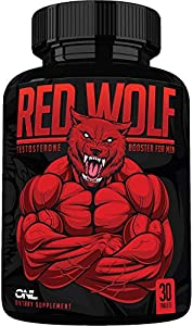 Red Wolf Testosterone Booster for Men - Enlargement Supplement - Ultimate Mens High Potency Endurance, Drive, and Strength Booster - Osyris Nutrition Lab - 1 Month Supply - Made in USA
