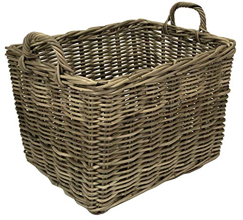 east2eden e2e Grey Kubu Rattan Wicker Strong Rectangle Storage Display Kindling Log Basket (Extra Large)
