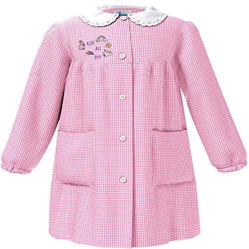 siggi Grembiule Asilo Scuola Materna Bambina Quadri Bianco Rosa con Ricamo - tg. 65-6 Anni