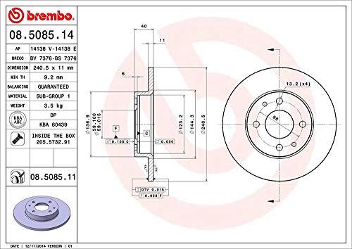 Brembo 08.5085.14 - Disco Freno - Set di 2 dischi