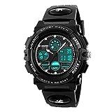 Kids Digital Watch LED Outdoor Sports 50M Waterproof Watches Boys Children's Analog Quartz Wristwatch with Alarm Wrist Watch - Black
