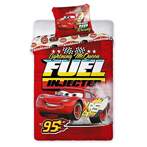 Juego de ropa de cama infantil de 2 piezas Cars 058 Lightning McQueen Fuel Injected 140 x 200 + funda de almohada de algodón rojo Öko-Tex