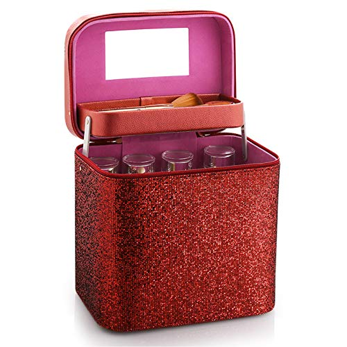 Makeup Case 4 Trays Cosmetic Box Beauty Organiser Holder Box,Beauty Makeup Nail Art Cosmetics Box,Red
