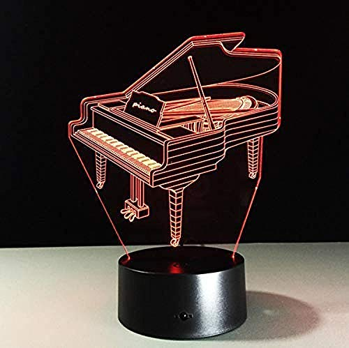 Piano Light Table Kids Lamp 7 Colors Changing Effect Decorative Bedroom Lights Touch USB Battery Light Music Fan S Gift 3D