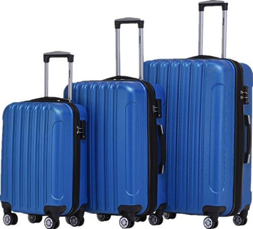 BEIBYE TSA Schloß 2050 Hartschale Trolley Koffer Reisekoffer in M-L-XL-Set (Diamond Blau, Kofferset+TSA Schloß)