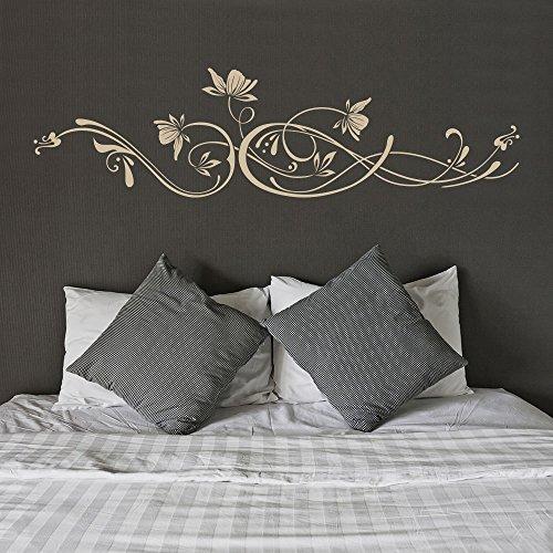 KLEBEHELD® Wandtattoo Stilvolles Ornament mit Blüten Größe 80x21cm, Farbe schwarz