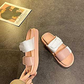 Women Slippers Flat Heel Platform Sandals Casual Summer Leather Drags Outside Beach Holiday Shoes Slides Female Flats Simple casual sandals and slippers (Color : Pink, Shoe Size : 8.5)