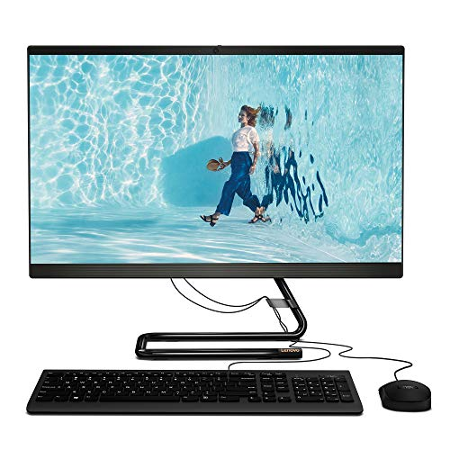 Lenovo IdeaCentre AIO 3 23.8 Inch FHD Desktop PC - (AMD Ryzen 3, 4 GB RAM, 128 GB SSD, Windows 10 Home) - All-in-One Computer, Wired Mouse and Keyboard (Black)